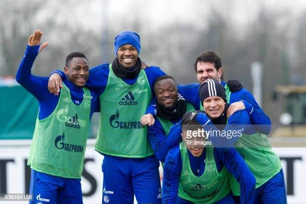 Abdul Rahman Baba of Schalke Naldo of Schalke Bernard Tekpetey of Schalke Pablo Insua of Schalke Franco Di Santo of Schalke and Alessandro Schoepf of...