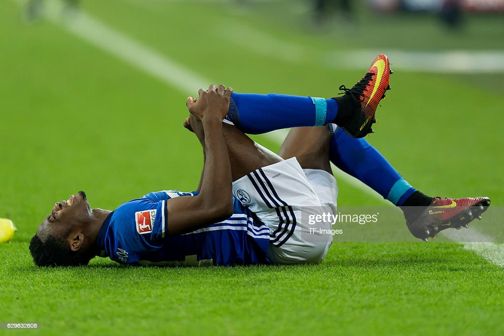 Abdul Rahman Baba of Schalke on the groand during the Bundesliga match between FC Schalke 04 and Bayer 04 Leverkusen at Veltins-Arena on December 11, 2016 in Gelsenkirchen, Germany.