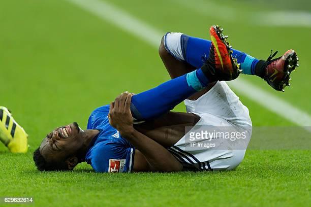 Abdul Rahman Baba of Schalke on the groand during the Bundesliga match between FC Schalke 04 and Bayer 04 Leverkusen at VeltinsArena on December 11...
