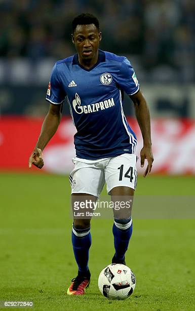 Abdul Rahman Baba of Schalke runs with the ball during the Bundesliga match between FC Schalke 04 and Bayer 04 Leverkusen at VeltinsArena on December...
