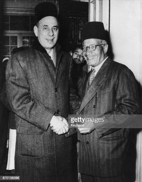 Abdul Rahman Hassan Azzam former SecretaryGeneral of the Arab League meets Hassan alHudaybi leader of the Muslim Brotherhood upon the latter's...