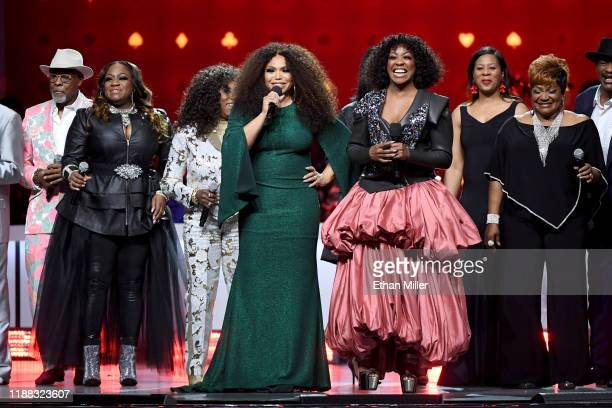 Abdul Ra'oof Jamecia Bennett Mary Davis Tisha Campbell Tichina Arnold Core Cotton and Ann Nesby perform onstage at the 2019 Soul Train Awards...