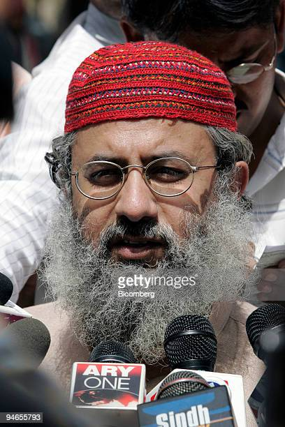 Abdul Rashid Ghazi radical Muslim cleric of Islamabad's Red Mosque speaks to the media during an 'antivice' rally in Islamabad Pakistan Friday April...