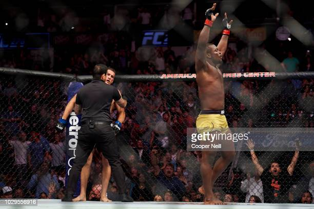 Abdul Razak Alhassan celebrates after defeating Niko Price during the UFC 228 event at American Airlines Center on September 8 2018 in Dallas Texas