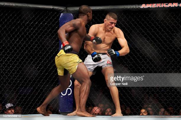 Abdul Razak Alhassan connects with a punch against Niko Price during the UFC 228 event at American Airlines Center on September 8 2018 in Dallas Texas