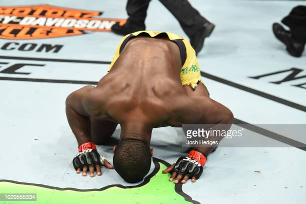 Abdul Razak Alhassan of Ghana celebrates after defeating Niko Price in their welterweight fight during the UFC 228 event at American Airlines Center...