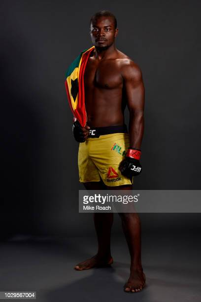 Abdul Razak Alhassan of Ghana poses for a post fight portrait backstage during the UFC 228 event at American Airlines Center on September 8 2018 in...
