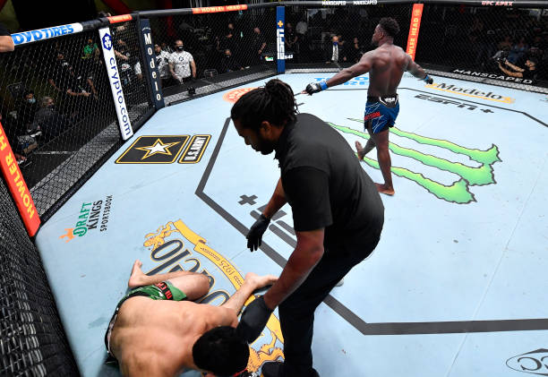 Abdul Razak Alhassan reacts after his knockout victory over Alessio Di Chirico of Italy in a middleweight fight during the UFC Fight Night event at...
