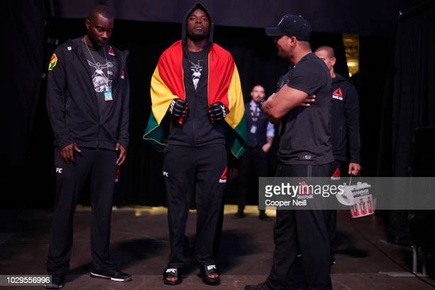 Abdul Razak Alhassan walks to the Octagon before fighting Niko Price during the UFC 228 event at American Airlines Center on September 8 2018 in...