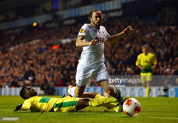 Abdul Razak of Anzhi Makhachkala tackles Andros Townsend of Tottenham Hotspur during the UEFA Europa League Group K match between Tottenham Hotspur...