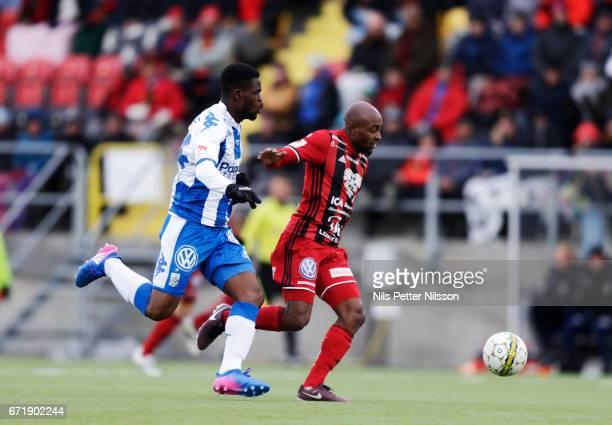 Abdul Razak of IFK Goteborg and Fouad Bachirou of Ostersunds FK during the Allsvenskan match between Ostersunds FK and IFK Goteborg at Jamtkraft...