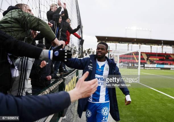 Abdul Razak of IFK Goteborg celebrates after the match during the Allsvenskan match between Ostersunds FK and IFK Goteborg at Jamtkraft Arena on...