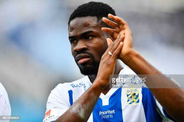Abdul Razak of IFK Goteborg cheers to the fans after the Allsvenskan match between IFK Goteborg and Malmo FF at Ullevi on April 1 2017 in Gothenburg...