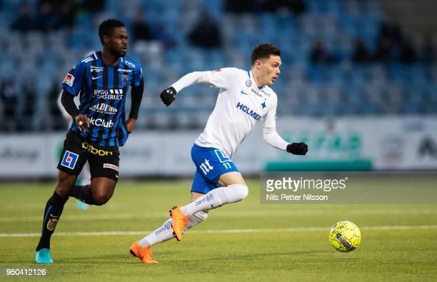 Abdul Razak of IK Sirius FK and David Moberg Karlsson of IFK Norrkoping during the Allsvenskan match between IFK Norrkoping and IK Sirius FK on April...