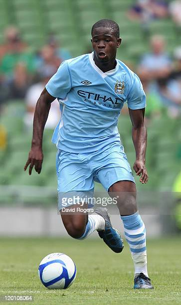Abdul Razak of Manchester City runs with the ball during the Dublin Super Cup match between Manchester City and Airtricity XI at Aviva Stadium on...