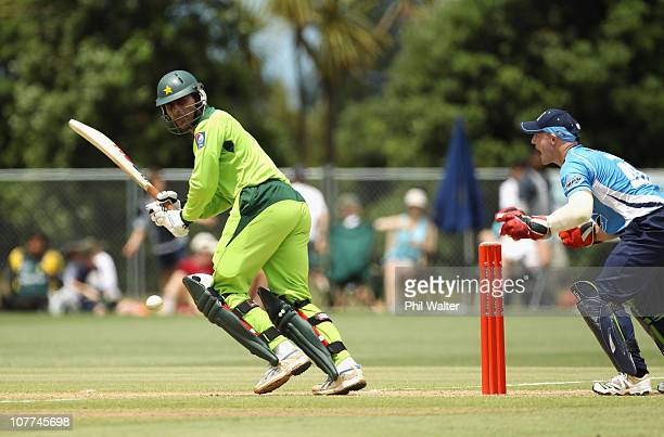 Abdul Razzak of Pakistan bats during the Twenty20 trial match between Pakistan and the Auckland Aces at Colin Maiden Park on December 23 2010 in...