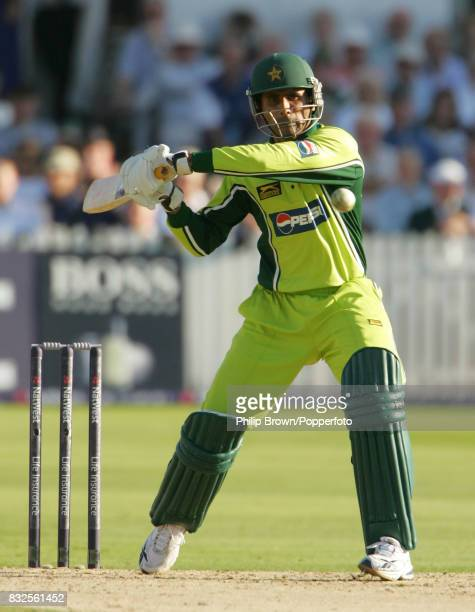 Abdul Razzaq batting for Pakistan during his innings of 75 runs in the 4th Natwest Series One Day International between England and Pakistan at Trent...