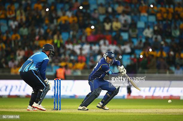 Abdul Razzaq of Capricorn Commanders hits out during the Oxigen Masters Champions League 2016 match between Capricorn Commanders and Leo Lions at...
