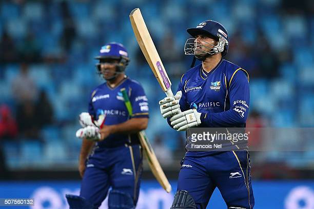 Abdul Razzaq of Capricorn Commanders reacts after being dismissed during the Oxigen Masters Champions League match between Sagittarius Strikers and...