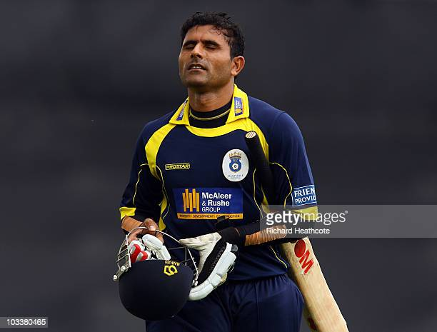 Abdul Razzaq of Hampshire walks off after losing his wicket during the Friends Provident T20 Semi Final between Hampshire Royals and Essex Eagles at...