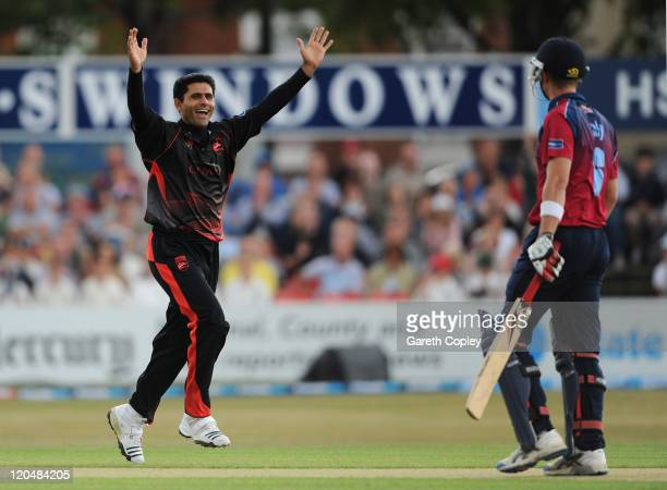 Abdul Razzaq of Leicestershire celebrates dismissing Joe Denly of Kent during the Friends Life T20 Quarter Final match between Leicestershire and...
