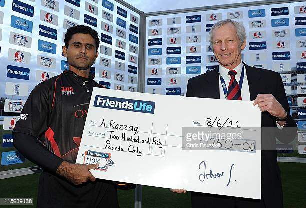 Abdul Razzaq of Leicestershire collects the man of the match award following the Friends Life T20 match between Lancashire Lightning and...