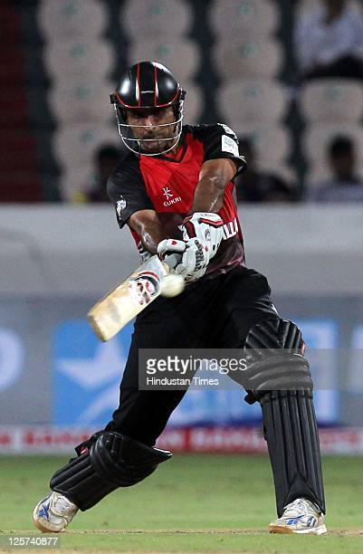 Abdul Razzaq of Leicestershire Foxes plays a lofted shot on the offside during the Champions League Twenty20 qualifier match between Leicestershire...