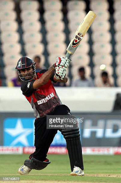 Abdul Razzaq of Leicestershire Foxes plays an extravagent shot during the Champions League Twenty20 qualifier match between Leicestershire and Ruhunu...