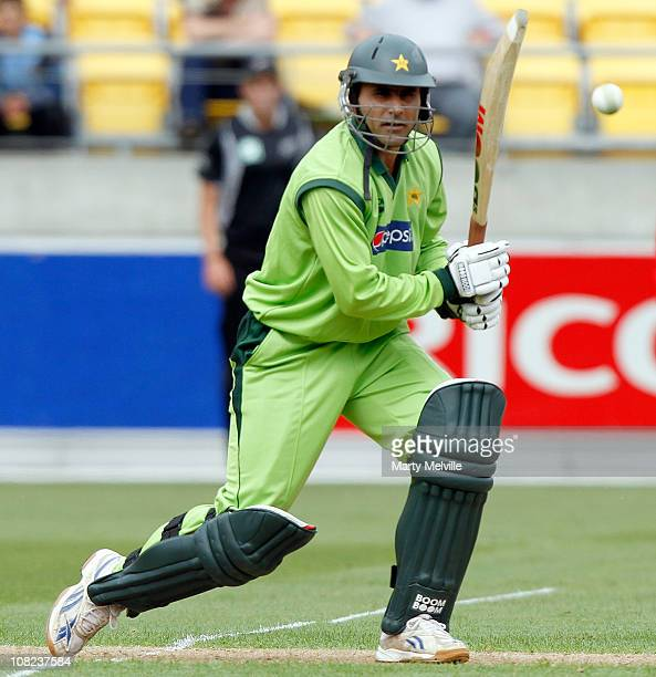 Abdul Razzaq of Pakistan bats during game one of the One Day Series between the New Zealand Blackcaps and Pakistan at Westpac Stadium on January 22...
