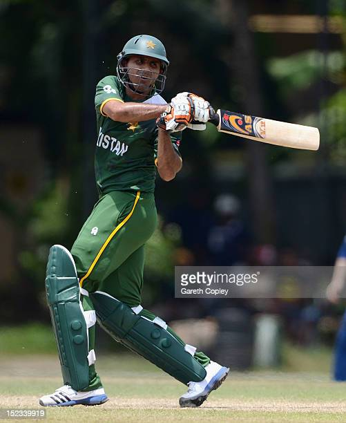 Abdul Razzaq of Pakistan bats during the ICC T20 World Cup Warm Up Match between England and Pakistan at P Sara Oval on September 19 2012 in Colombo...