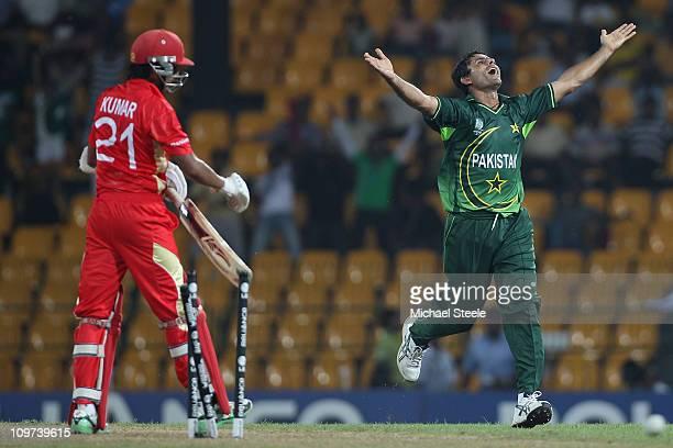 Abdul Razzaq of Pakistan celebrates bowling Nitish Kumar during the Canada v Pakistan 2011 ICC World Cup Group A match at the R Premadasa Stadium on...
