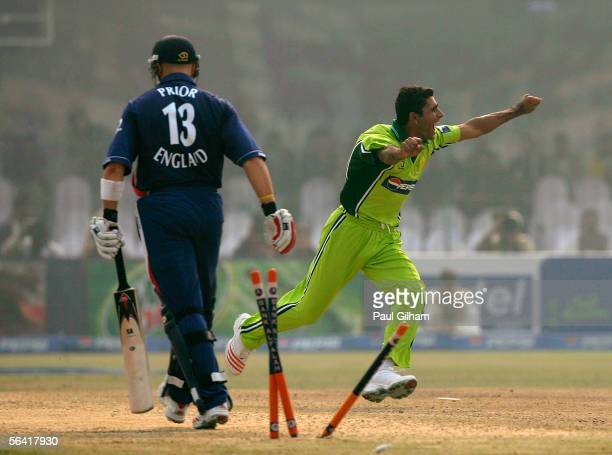 Abdul Razzaq of Pakistan celebrates bowling out Matt Prior of England for 32 runs during the second one day international match between Pakistan and...