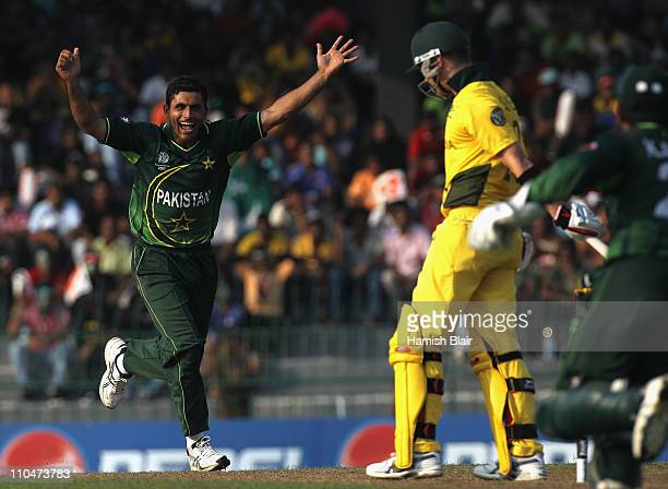 Abdul Razzaq of Pakistan celebrates the wicket of Michael Clarke of Australia during the 2011 ICC World Cup Group A match between Australia and...