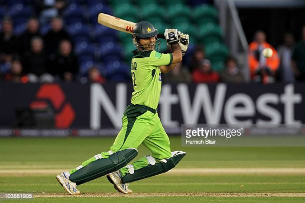 Abdul Razzaq of Pakistan hits out during the 2nd NatWest T20 International match between England and Pakistan at the Swalec Stadium on September 7...