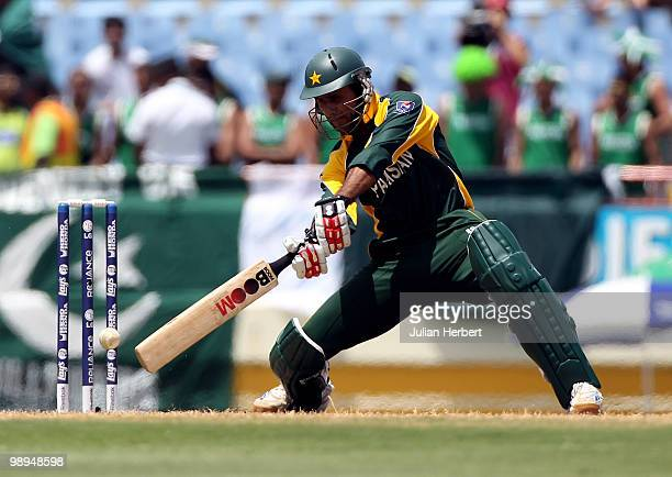 Abdul Razzaq of Pakistan in action during the ICC World Twenty20 Super Eight match between Pakistan and South Africa played at the Beausejour Cricket...