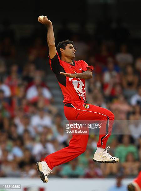 Abdul Razzaq of the Renegades bowls during the T20 Big Bash League match between the Melbourne Renegades and the Sydney Sixers at Etihad Stadium on...