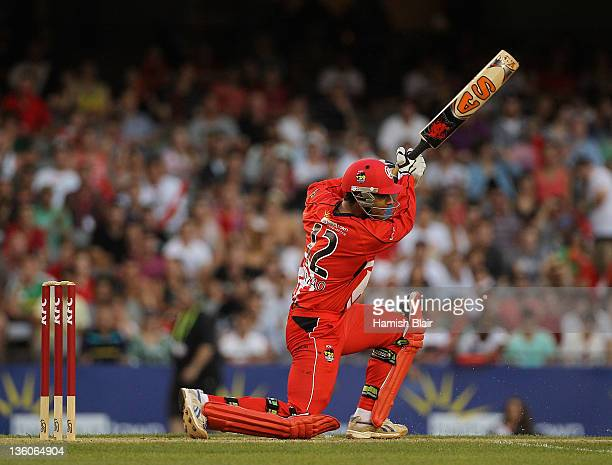 Abdul Razzaq of the Renegades in action during the T20 Big Bash League match between the Melbourne Renegades and the Perth Scorchers at Etihad...