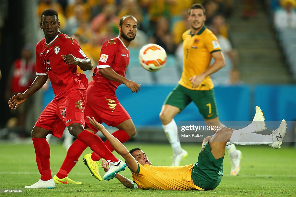 Abdul Sallam Al Mukhani and Abdul Aziz Al-Maqbali of Oman look on after Sallam Al Mukhani fouled Tim Cahill of Australia leading to a penalty during the 2015 Asian Cup match between Oman and Australia at ANZ Stadium on January 13, 2015 in Sydney, Australia.