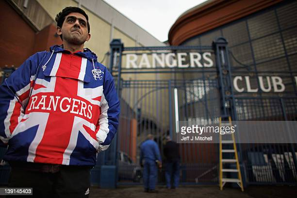 Abdul Sallam stands outside the Ibrox Stadium gates on February 17 2012 in Glasgow Scotland Rangers face Kilmarnock on Saturday following a week...
