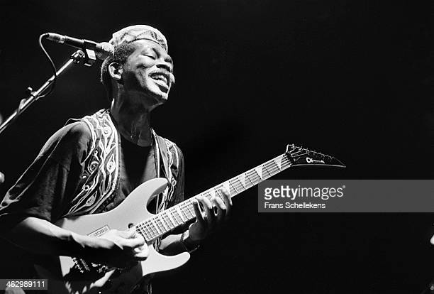 Abdul Tee-Jay, vocal, performs with Rokoto at the Melkweg on 13th April 1990 in Amsterdam, the Netherlands.