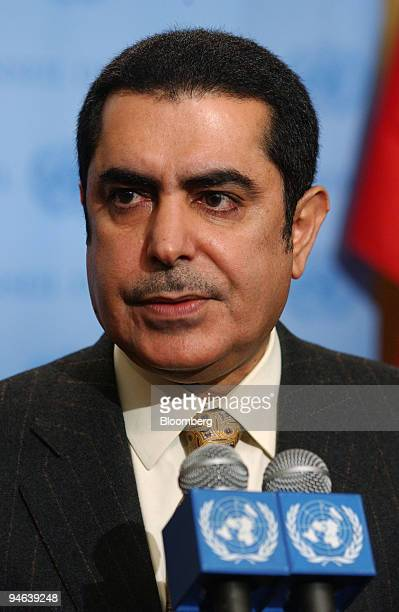 Abdulaziz AlNasser Qatar ambassador to the United Nations speaks to the media after a closed door UN Security Council consultation in New York...