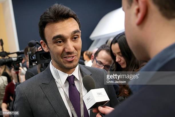 Abdulaziz Turki Al Faisal visits the IWC booth during the Salon International de la Haute Horlogerie 2013 at Palexpo on January 22, 2013 in Geneva,...