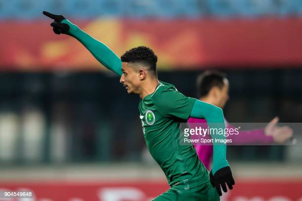Abdulelah Alamri of Saudi Arabia celebrates after scoring his goal during the AFC U23 Championship China 2018 Group C match between Jordan and Saudi...