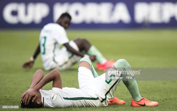 Abdulelah Alamri of Saudi Arabia lies dejected on the pitch after loosing the FIFA U-20 World Cup Korea Republic 2017 Round of 16 match between...