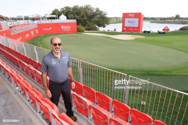Abdulfattah Sharaf CEO of HSBC in the UAE looks on during the proam prior to the Abu Dhabi HSBC Golf Championship at Abu Dhabi Golf Club on January...