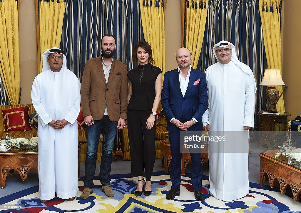 Abdulhamid Juma, chairman of DIFF, Ali Suliman, Olga Kurylenko, Georges Kern, CEO IWC Schaffhausen and Massoud Amralla Al Ali, artistic director of DIFF attend the jury meeting of the fifth IWC Filmmaker Award at the 13th Dubai International Film Festival (DIFF), during which Swiss luxury watch manufacturer IWC Schaffhausen celebrated its long-standing passion for filmmaking on December 8, 2016 in Dubai, United Arab Emirates.