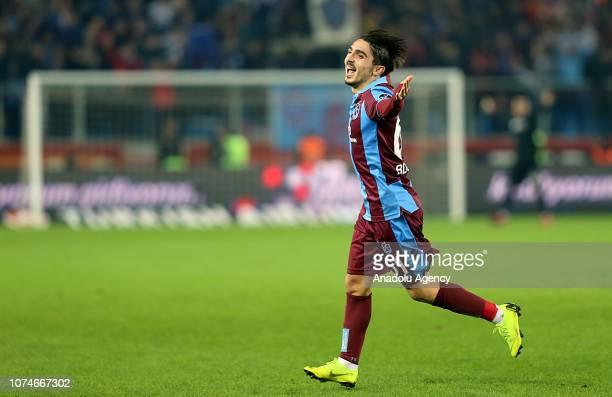Abdulkadir Omur of Trabzonspor celebrates his goal during Turkish Super Lig soccer match between Trabzonspor and Caykur Rizespor at the Medical Park...