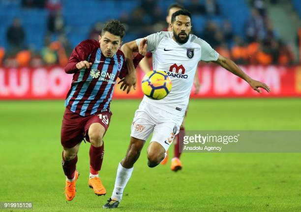 Abdulkadir Omur of Trabzonspor in action against Gael Clichy of Medipol Basaksehir during a Turkish Super Lig match between Trabzonspor and Medipol...