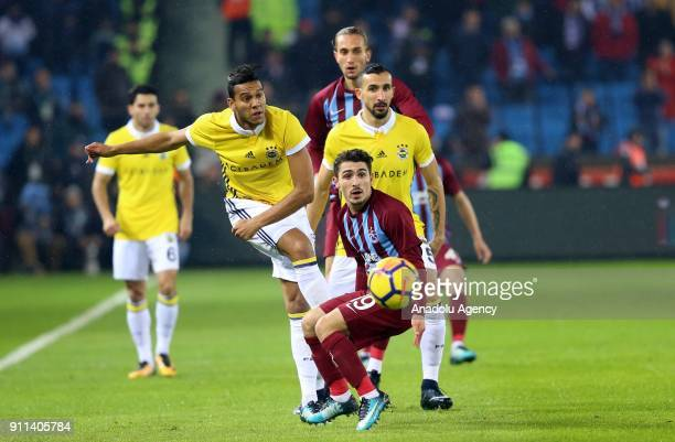 Abdulkadir Omur of Trabzonspor in action against Souza of Fenerbahce during a Turkish Super Lig match between Trabzonspor and Fenerbahce at Medical...