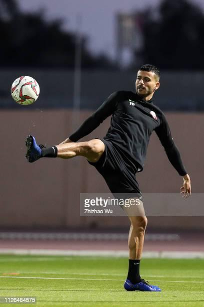 Abdulkareem Salem AlAli attends the training session at Armed Forces Stadium on January 31 2019 in Abu Dhabi United Arab Emirates